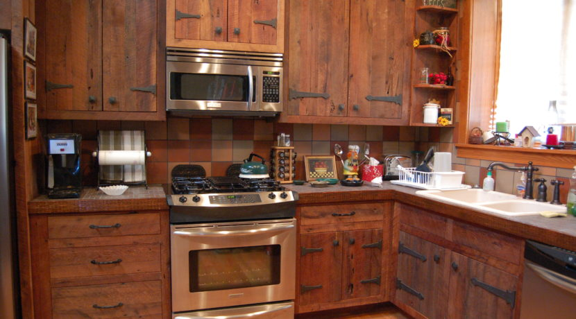Guest house kitchen; reclaimed barnwood