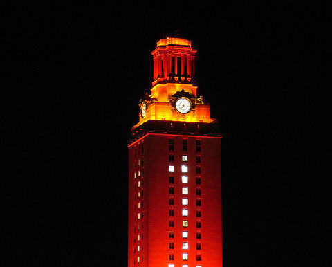 UT Tower Win Lit Up