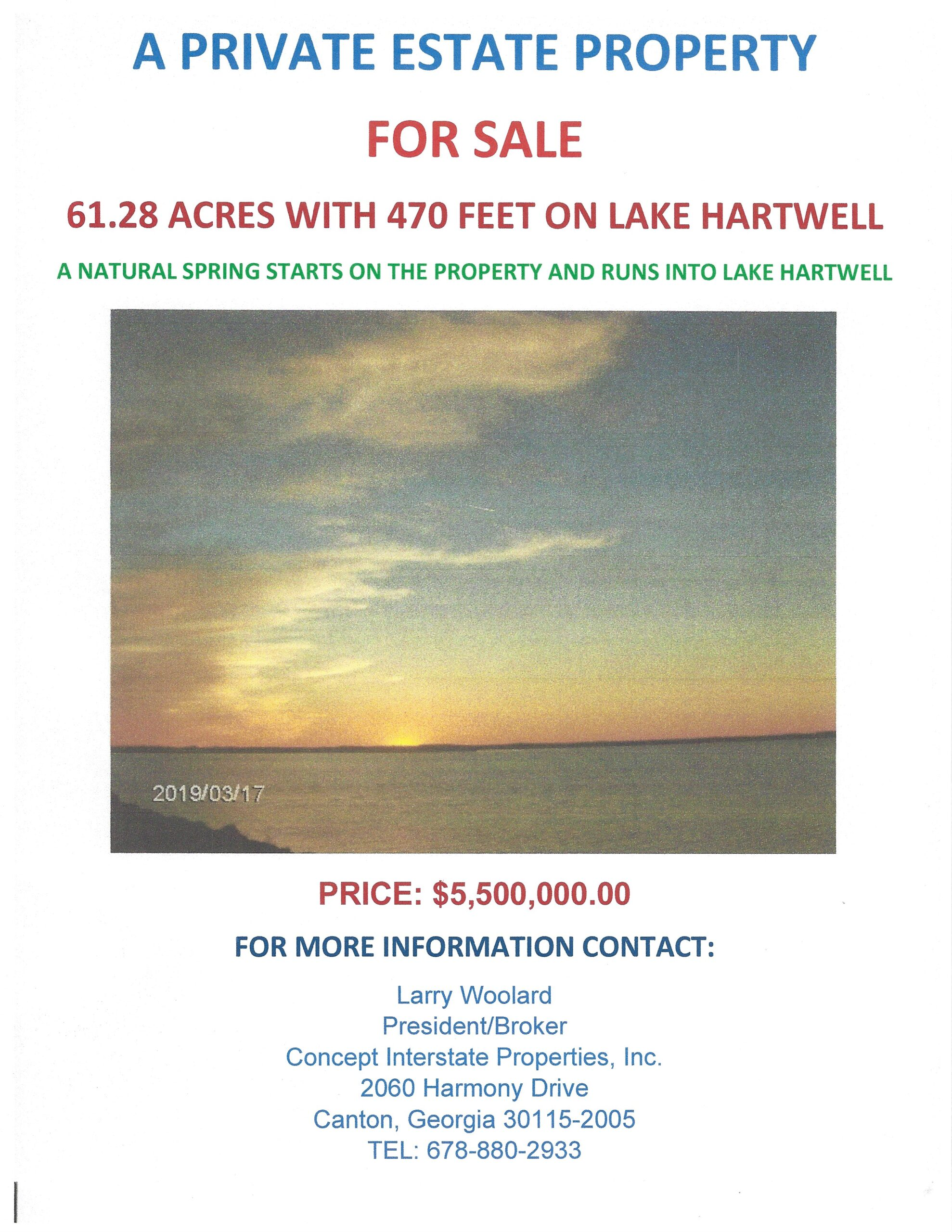61+ ACRES with 470 FEET on PRISTINE LAKE HARTWELL